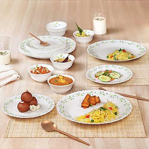 Cello Opalware Dazzle Tropical Lagoon Dinner Set, 18Pcs, White