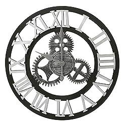 Adeco Clock 3D Retro Rustic Vintage Wooden Luxury Gear Noiseless Wall Clock, Wooden Decoration (19 Inch, Roman-Silver)