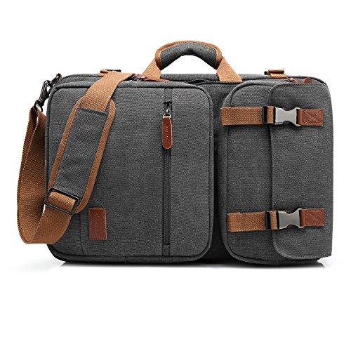 CoolBELL 15,6 Zoll umwandelbar Aktentasche Rucksack Messenger Bag Mehrzweck Reiserucksack Herren Umhängetasche Schultertasche Business Travel Backpack Laptoptasche Notebooktasche(Canvas Grau)
