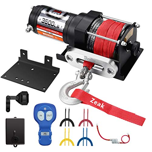 Buy ZEAK 3500 lb. Advanced 12V DC Electric Winch, Off Road Waterproof, Synthetic Rope, Mount, for Sp...
