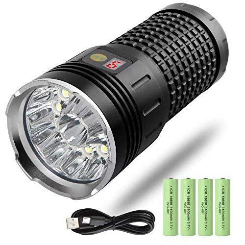 FiveFire LED taschenlampe 12000 Lumen, 12xLEDs taschenlampe extrem hell, Type-C USB Schnelles Wiederaufladbare, 4 Modi, mit Energieanzeige, isolierender Schutzfunktion, Eingebaute Batterie