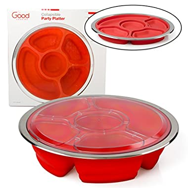 Appetizer Serving Tray and Collapsible Party Platter with Lid - BPA Free