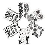 Pinkiou Tatuajes temporales Flor Elefante Pegatinas de encaje negro Arte corporal (6 piezas)