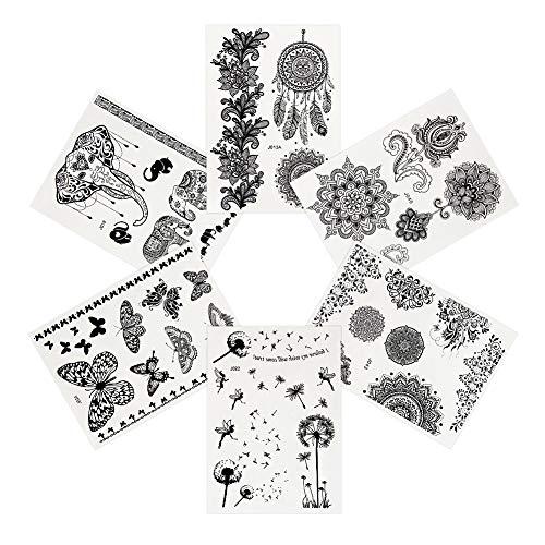 Pinkiou pegatinas de tatuaje negro pegatinas de cuerpo de encaje pegatinas temporales de tatuaje para mujer (paquete de 6)
