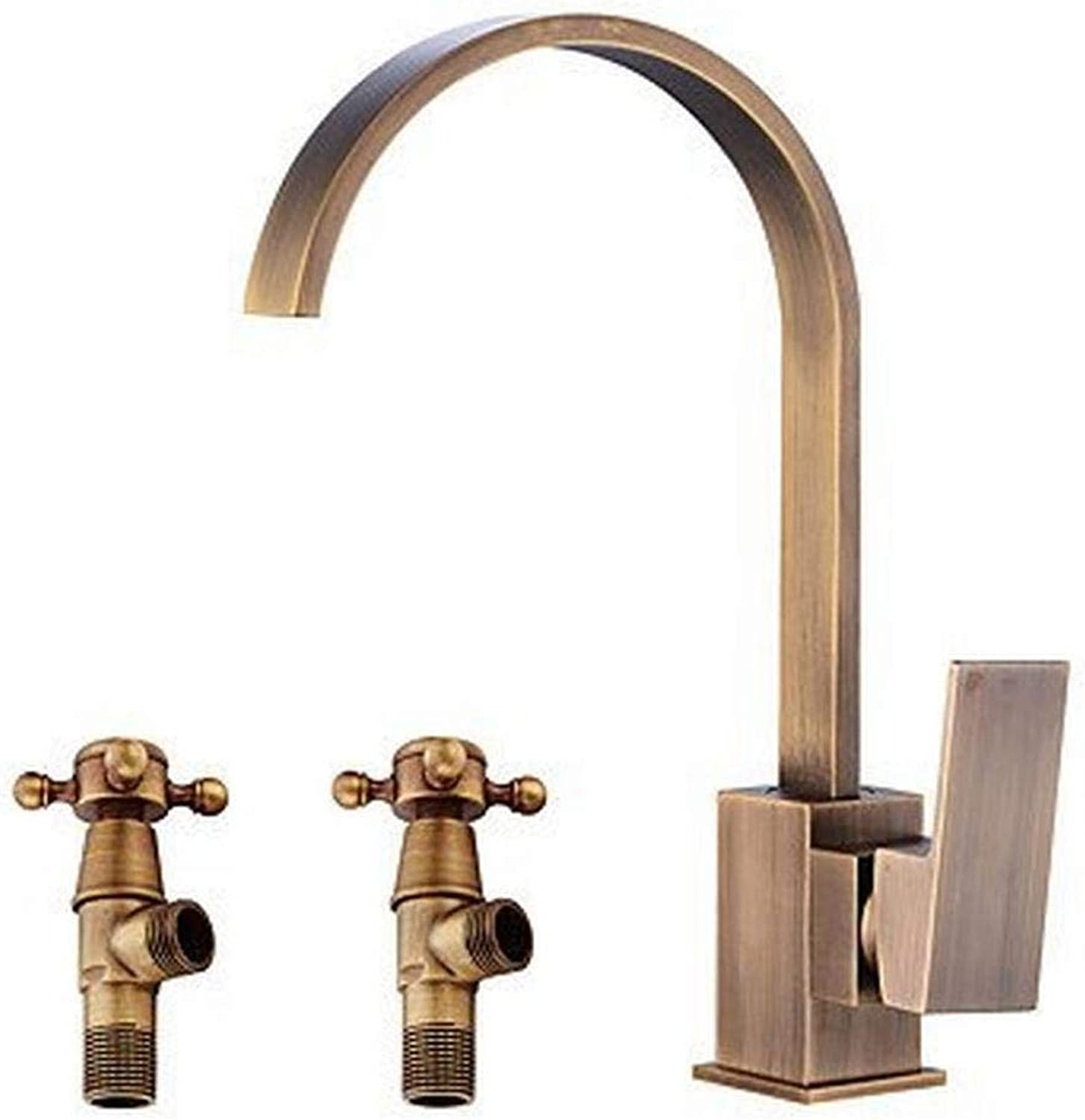 IG Widespread Ceramic Valve Single Handle One Hole Antique Copper, Bathroom Sink Faucet,A,One Size