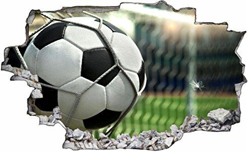 DesFoli Fussball Tor Ball 3D Look Wandtattoo 70 x 115 cm Wanddurchbruch Wandbild Sticker Aufkleber C412