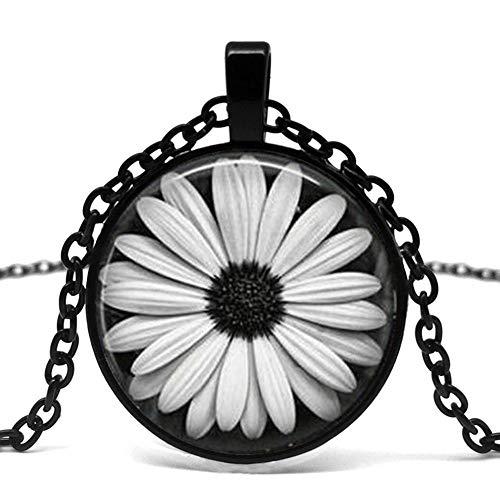 Heißer Verkauf, Gänseblümchen Blume Halskette Glas Fliesen Schmuck, Männer Und Frauen Kleidung Anhänger Halskette