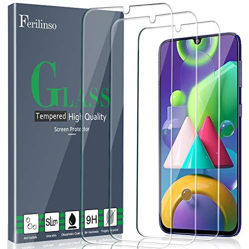 Ferilinso [3 Pezzi] Pellicola Protettiva per Samsung Galaxy A50/M21/M31/M30S/M31 Prime Vetro Temperato [Compatibile con la Cover] [Alta Definizione] [9H Durezza] [Anti-Graffio]