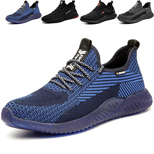 SUADEEX Sicherheitsschuhe Herren Damen Arbeitsschuhe Leicht Sportlich Atmungsaktiv Schutzschuhe Stahlkappe Sneaker,605Blau,44EU