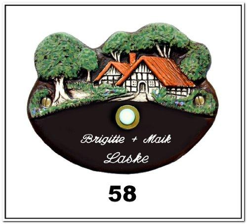 AUSWAHL: Klingelschild /Keramikschild 17x11cm Keramik Türschild Namensschild