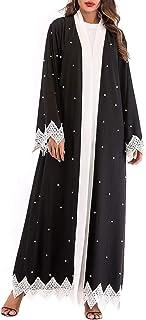 رداء فضفاض طويل الأكمام مطرز أزياء قفطان دبي فستان الإسلامي شال شال شال شال متوسط للنساء (أسود XXL)