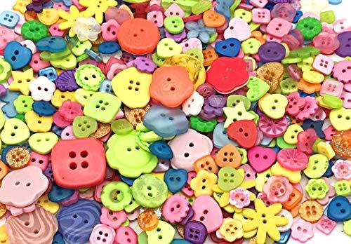 Ldawy Bastel Knöpfe, Kunstoff Bastelknöpfe, mehrfarbige Knöpfe, 600 Stück Bunte mehrfarbige Knöpfe für alle Bastelaktivitäten, Collage, Stricken, Häkeln, Sockenpuppen, DIY Handmade (1-3CM)