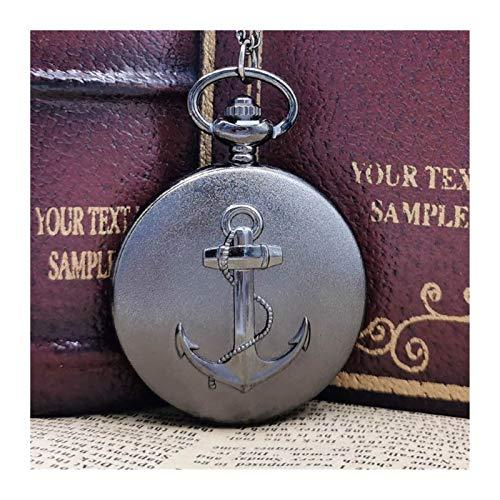Moonlight Star Vendimia del Collar Pendiente del Reloj de Bolsillo Quarzt Ancla del Pirata Amigo Niños Regalos Reloj (Color : Negro)