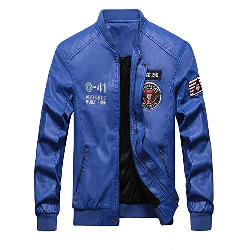 HNOSD 2019 Chaqueta de Bombardero de Cuero de Moda Hombres Otoño Invierno Chaquetas Militares Chaqueta de Forro Polar para Hombre Abrigos Chaquetas de béisbol cálidas