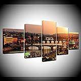 WANGZHONG 5 Piezas Cuadro sobre Lienzo Imagen Impresión Pinturas Murales Decor Dibujo con Marco Fotografía para Oficina Aniversario Póster Puente del Castillo De Praga 150X80Cm XXL