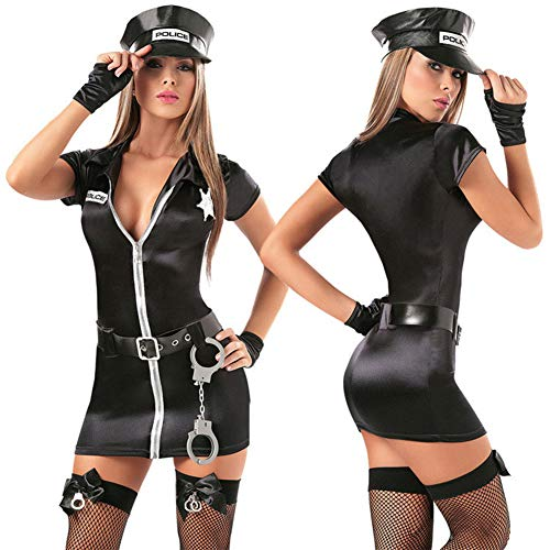 GWQDJ Mujeres Atractivas Policía Vestir Ropa Sexual Policía Uniforme Traje Cosplay Disfraz De La Policía Sexy S