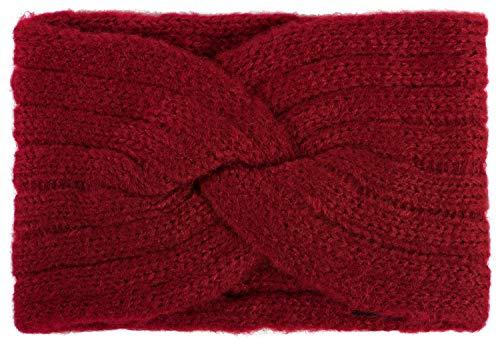 styleBREAKER Damen Strick Stirnband mit Rippen Muster, Twist Knoten, warmes Winter Haarband, Headband 04026041, Farbe:Bordeaux-Rot