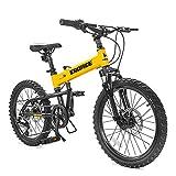 ZHTY Bicicleta de montaña Plegable para niños, Freno de Disco de 20 Pulgadas y 6 velocidades, Bicicletas Plegables Ligeras, Marco de aleación de Aluminio, Bicicletas de montaña Plegables