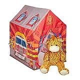 Relaxdays Feuerwehr Kinderzelt, großes Kinderspielzelt für Jungen, fürs Kinderzimmer, ab 3...