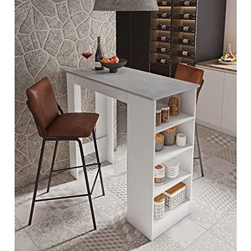 Dmora penisola da Cucina con 4 Ripiani, Mobile da Bar, Tavolo Alto ausiliare, cm 112x49xh106, Colore Bianco e Cemento, Nero