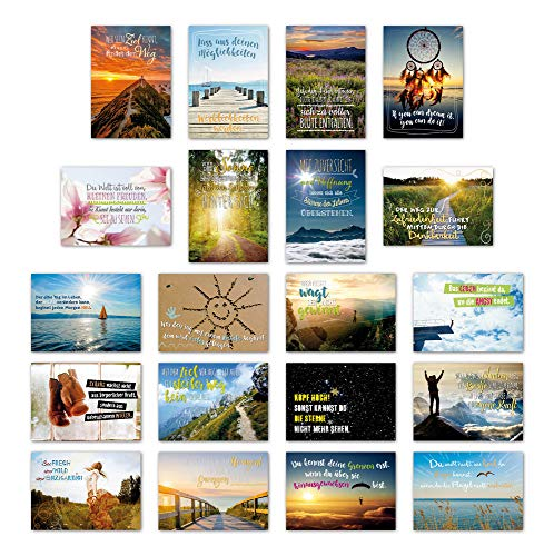 ewtshop 20er Postkarten Set Motivation mit 20 Sprüchen & Zitaten // Postkarte Grußkarte mit Spruch