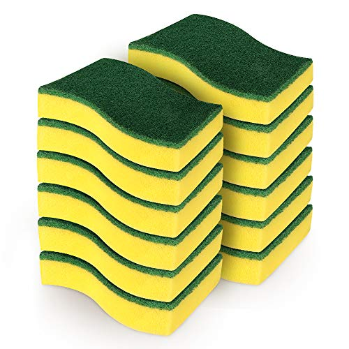 """AIDEA Heavy Duty Scrub Sponge-12Count, Cleaning Scrub Sponge, Stink Free Sponge, Effortless Cleaning Eco Scrub Pads for Dishes,Pots,Pans All at Once,Size: 4.3""""x 3.12"""" x 1.2"""""""