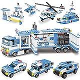 WYSWYG City Polizei Spielzeug Bausteine, 1042 Teile 8 in 1 Polizeistation Set mit Polizeiauto & Hubschrauber,STEM Lernspielzeug für Kinder ab 6 7 + Jahren,Kompatibles Bausteine Set (Blau)