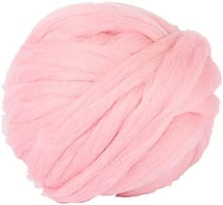 HomeModa Studio Non-Mulesed Chunky Wool Yarn Big Chunky Yarn Massive Yarn Extreme Arm Knitting Giant Chunky Knit Blankets Throws Grey White (0.25kg-0.55lbs-14yard, Pink)