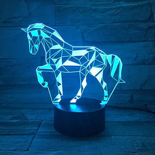 Lámpara de ilusión LED 3D Luz de noche EASEHOME Óptica de noche Luces de noche Iluminando la lámpara de los 7 colores cambiantes botón táctil 1 5 m USB Cable Decoración Escritorio Lámparas Caballo