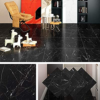 Livelynine Peel and Stick Floor Tile Adhesive Vinyl Flooring Black Marble Tile Sticker Waterproof Flooring for Rentals Home Kitchen Bedroom 12x12 Inch 4 Pack