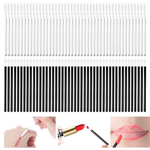 CJMM Pincel de labios desechable (200 piezas) para corrector, brochas de maquillaje para probar labios, corrector, kits de herramientas de maquillaje perfectos - blanco/negro
