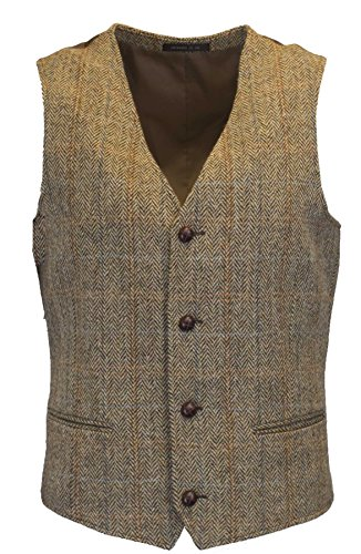 Walker & Hawkes – Gilet country da uomo – classico scozzese in tweed Harris – motivo a spina di pesce – Overcheck-Tartan – bianco sabbia – S-3XL Bianco sabbia M