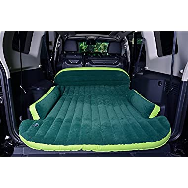 DRIVE TRAVEL SUV Air Mattress Camping Bed,Outdoor SUV Dedicated Mobile Cushion Extended Travel Mattress Air Bed Inflatable for SUV Back Seat,Swimming Sea Beach,Holiday,Fit 95%SUV (Green 70.9 ×50 )
