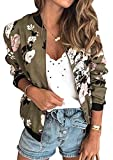 ECOWISH Women's Casual Floral Zip Up Inspired Bomber Jacket Leopard Coat Stand Collar Lightweight Short Outwear Tops 333 Army Green Small