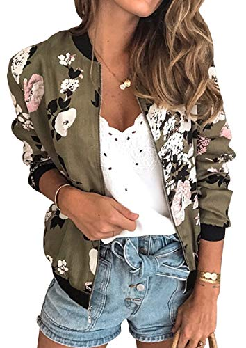 ECOWISH Women's Casual Floral Zip Up Inspired Bomber Jacket Leopard Coat Stand Collar Lightweight Short Outwear Tops 333 Army Green Medium