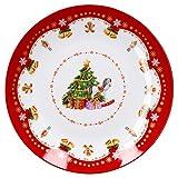 Plat à gâteau Van Well Magie de Noël, 26,5 mm de diamètre, assiette à biscuits en porcelaine, assiette de service pour biscuits, pain d'épices et pâtisseries, motif de Noël.