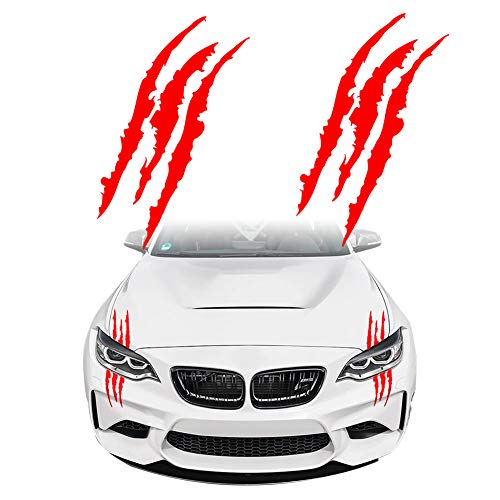 KE-KE Claw Marks Decal Reflective Sticker Waterproof Headlight Decal Vinyl Sticker Decal for Sports Cars 2PCS (Red)