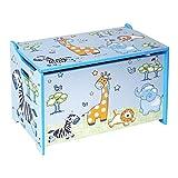 BIECO 74088397 de coffre à jouets et banc dans un coffre pour ranger les jouets avec jungle motif, bleu