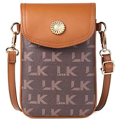 Lekesky Handy Umhängetasche Damen Schultertasche mit Kartenfächer, Leder Handytasche für Handy unter 7 Zoll