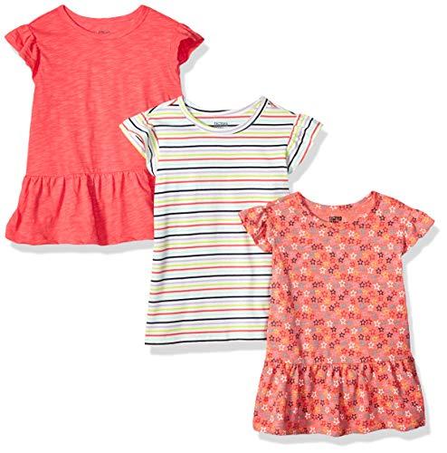 Amazon Brand - Spotted Zebra Kids Girls Short-Sleeve Flutter T-Shirts, 3-Pack Stripe/Stars, Small