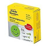AVERY Zweckform 3858 Klebepunkt Smiley grün, selbstklebend (ø 19 mm, 250 runde Aufkleber auf Rolle im Spender, positive Bewertungspunkte für Schulungen und Präsentationen)
