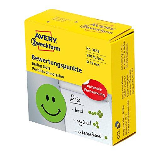 AVERY Zweckform 3858 samoprzylepne punkty samoprzylepne, 250 sztuk (pozytywne oceny na rolce w dozowniku, Ø 19 mm, naklejki śmiechająca się twarz, naklejki do strojenia, oceny i oznaczenia), zielone