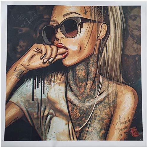 "Sunglade Moderne abstrakte Wandkunst Coole sexy Mädchen Tattoo Bilder Pop Art abstrakte Moderne Leinwand Malerei Graffiti Dekor Bild 31,4""x 31,4"" (80x80cm) No Frame"