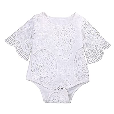 Mikrdoo Newborn Infant Baby Girl Flower White Lace Off Shoulder Romper Jumpsuit Outfit Clothes (0-3 Months, B)