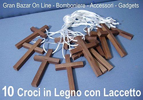 CROCE in LEGNO CROCI con LACCETTO 10 Pezzi in LEGNO PRIMA COMUNIONE ABITO BOMBONIERA