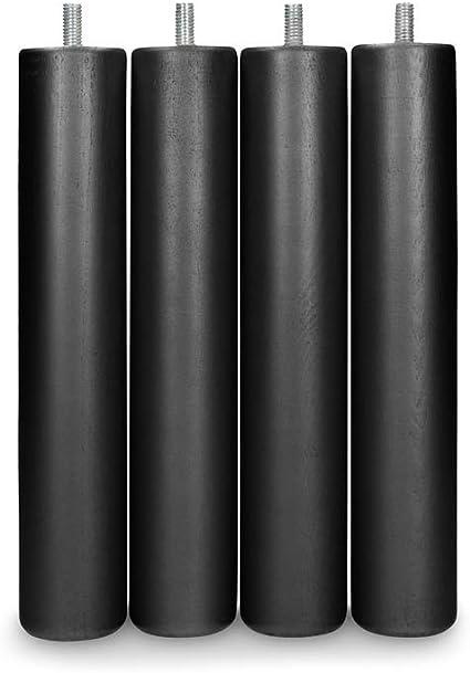 Dormidán - Patas Redondas de Madera, (6 Unidades) métrica 10 para somier o Base tapizada Color … (Negro)