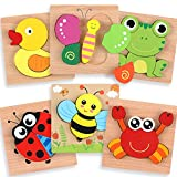 Wooden Puzzles for Toddlers - Educational Playset in Animal Pattern Shapes with Vibrant Colors, Set of 6 Brain Building Peg Puzzles for Boys and Girls with Drawstring Storage Bag
