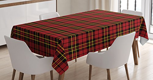 Ambesonne Checkered Tablecloth, Scottish British Celtic Culture Traditional Design in Classical Colors, Rectangular Table Cover for Dining Room Kitchen Decor, 60' X 84', Red Black