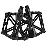 boruizhen Aluminium CNC Bike Platform Pedals Lightweight Road Cycling Bicycle Pedals for MTB BMX (Black)