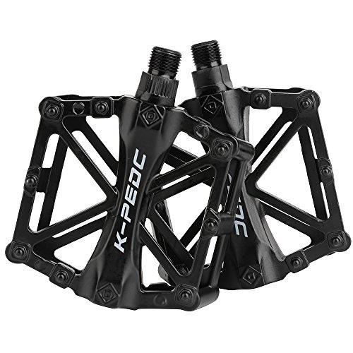 boruizhen Aluminium CNC Bike Platform Pedals Lightweight Road Cycling Bicycle Pedals for MTB BMX (Black)